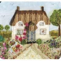 "Carte reproduction Patchwork tissu ""Cottage fleuri"""