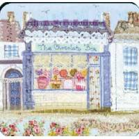 """Carte reproduction Patchwork tissu """"Boutique de Chocolats"""""""