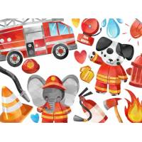 Carte reproduction d'aquarelle Les Pompiers