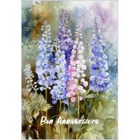Carte Anniversaire aquarelle Lupins roses et bleus