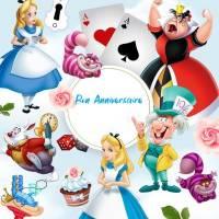 """Carte Anniversaire aquarelle """"Alice au Pays des Merveilles"""""""
