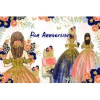 """Carte Anniversaire aquarelle  """"Les robes de Bal"""""""