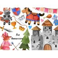 Carte Anniversaire enfants aquarelle Les Chevaliers au Chateau