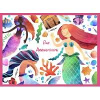 Carte Anniversaire enfants aquarelle Les petites Sirènes