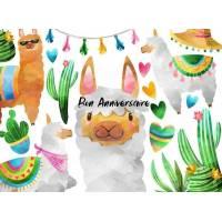 Carte Anniversaire enfants aquarelle Les gentils Lamas