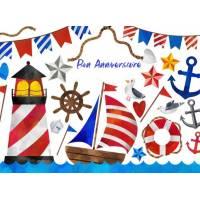 Carte Anniversaire enfants aquarelle Ambiance marine