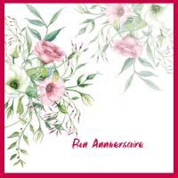 Carte Anniversaire aquarelle Bouquet de Lisianthus Clara