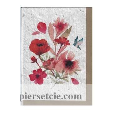 Carte à planter Bouquet rouge, graines de Fleurs des champs