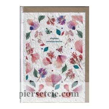 Carte Anniversaire à planter fleurs aquarelle, graines de Fleurs des champ