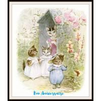 Carte Anniversaire Beatrix Potter Famille Chats