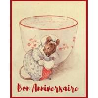 Carte Anniversaire Beatrix Potter Souris et Tasse à thé