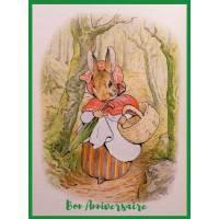 Carte Anniversaire Beatrix Potter Maman Lapin et Forêt