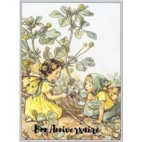 Carte Anniversaire Fées des Fleurs Trèfle jaune