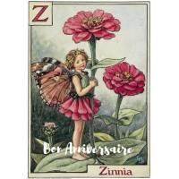 Carte Anniversaire Fées des Fleurs Zinnia