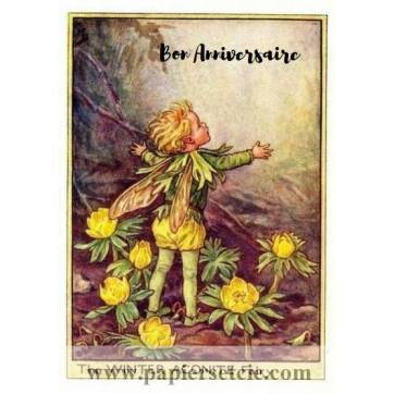 Carte Anniversaire Fées des Fleurs Aconit jaune