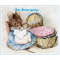 Carte Anniversaire Beatrix Potter Maman Souris et Bébé