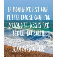 """Carte citation Bonheur: """"Le Bonheur est une petite chose que m'on grignote, assis par terre, au soleil"""""""