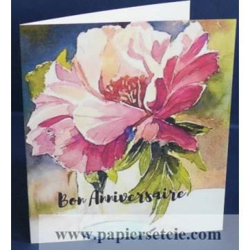 Carte Anniversaire double aquarelle  Fleur rose