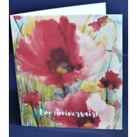 Carte Anniversaire double aquarelle Coquelicots