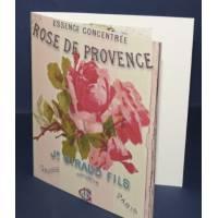 Carte double parfumée à la rose, motif Rose de Provence