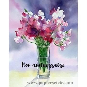 Carte Anniversaire aquarelle Pois de senteur dans Vase