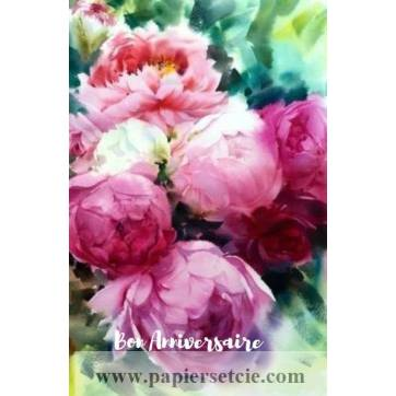 Carte Anniversaire aquarelle Pivoines roses