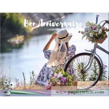 Carte Anniversaire Jeune Femme Et Velo Au Bord De L Eau
