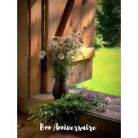 Carte Anniversaire Vase de Marguerites sur Fenêtre