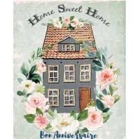 "Carte Anniversaire aquarelle ""Home Sweet Home"""