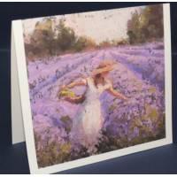 Carte double parfumée à la lavande, Jeune Femme et Lavandes