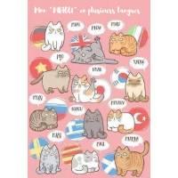 """Carte Chat Mon """"MIAOU"""" en plusieurs langues"""