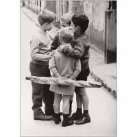 """Carte Enfants Noir et Blanc Vintage """"3 Garçons et Pain"""""""