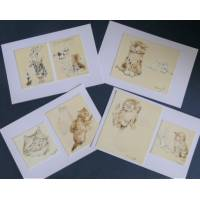Cartes Chat Chatons Olivier Herford 3, paquet de 4 cartes assorties