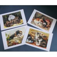 Cartes Chat, magnifiques chats vintage 1,  paquet de 4 cartes assorties