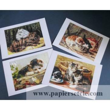 Cartes Chat, magnifiques chats vintage 1,  paquet de 4 cartes assorties