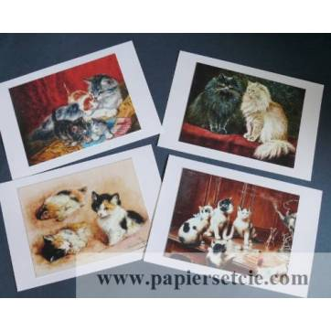 Cartes Chat, magnifiques chats vintage 2,  paquet de 4 cartes assorties