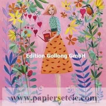 Carte Mila Marquis Jeune Femme, Arrosoir et Fleurs
