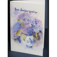 Carte Anniversaire double aquarelle Pot d'Hortensias