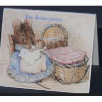 Carte Anniversaire double aquarelle Béatrix Potter Souris et Bébés