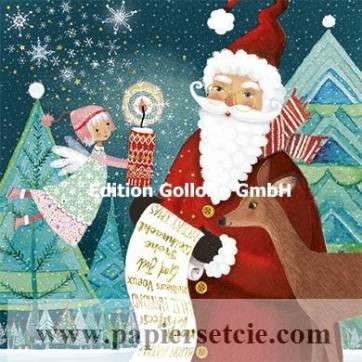 Carte Joyeux Noêl ou Nouvel an Mila Marquis Père Noël et Ange