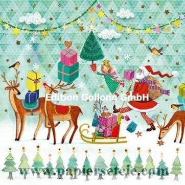 Carte Joyeux Noêl ou Nouvel an Mila Marquis Père Noël et Traîneau