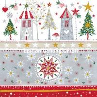 Carte Joyeux Noêl ou Nouvel an Kerstin Hess Maisons et Arbres