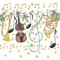 Carte Joyeux Noël ou Nouvel an Kerstin Hess Instruments de Musique