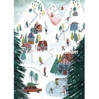 Carte Joyeux Noël ou Nouvel An Cartita Design Montagnes et Ski