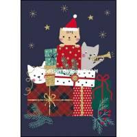 Carte double Joyeux Noël ou Nouvel an Chatons et Cadeaux