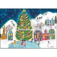 Carte double Joyeux Noël ou Nouvel an Patinage et Arbre de Noël