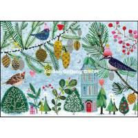 Carte dble Joyeux Noël ou Nouvel an Mila Marquis Les Oiseaux