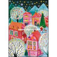Carte dble Joyeux Noël ou Nouvel an Mila Marquis Père Noël dans la ville