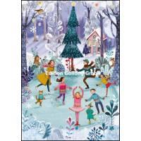 Carte dble Joyeux Noël ou Nouvel an Mila Marquis Patinage