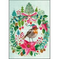 Carte dble Joyeux Noël ou Nouvel an Mila Marquis Rouge Gorge